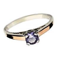 """Серебряное кольцо с золотыми накладками и фианитом """"Нежность"""""""