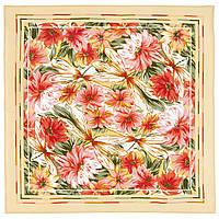 Мимолетное виденье 1407-1, павлопосадский шейный платок (крепдешин) шелковый с подрубкой