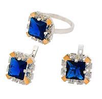 Серебряный набор с золотыми накладками (кольцо и серьги)  - роскошные украшения для яркой и стильной