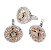 Серебряный набор с золотыми накладками и фианитами - изысканность и роскошь в женских украшениях
