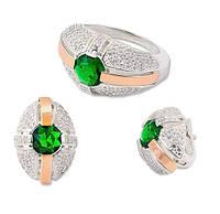 Серьги и кольцо - серебряный набор с золотыми накладками и зеленым камнем