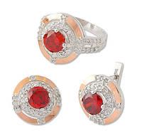 Серьги и кольцо - серебряный набор с золотыми накладками и красным камнем