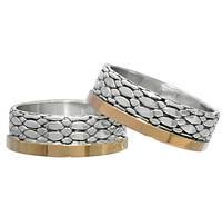"""Серебряные обручальные кольца с золотыми пластинами """"Чешуйки полуночного дракона"""" пара"""