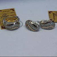 Кольцо и Серьги - серебряный набор с золотыми накладками