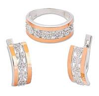 Серебряные Серьги и Кольцо - серебряный набор женских украшений с золотыми накладками Франческа