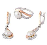 Серьги и Кольцо - серебряный набор с золотыми накладками Жемчужная нотка