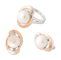 Серебряный набор серьги и кольцо  Фантазия с золотыми накладками