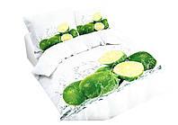 Комплект постельного белья 3D Luna Home NR 007 Oulaiya 2915 Белый, Зеленый