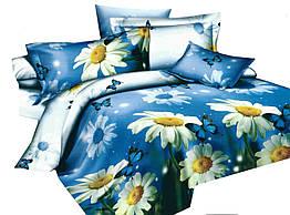 Комплект постельного белья 3D Хлопковый Сатин 280 Collection World 3403 Синий, Желтый