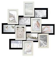 Мультирамка «Белое и чёрное. Зигзаг» (12 фотографий)