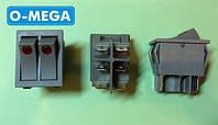Кнопочный выключатель, Клавиша широкая двойная 28,5х22,0мм с подсветкой серый