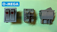 Кнопочный выключатель, Клавиша широкая двойная 28,5х22,0мм с подсветкой серый, фото 1