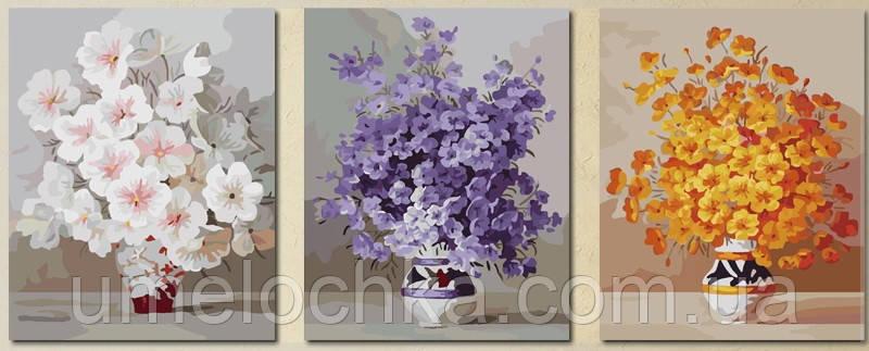 Картина раскраска триптих цветы 50 х 150 см(MS14030)