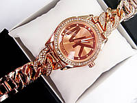Женские кварцевые наручные часы Michael Kors Diamond Link, Red Gold, фото 1
