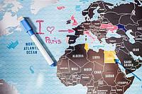 Скретч-карта мира Travel map серебро, англ., фото 1