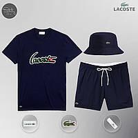Летний спортивный комплект, мужской пляжный комплект Lacoste, шорты+футболка, панама, ТОП-Реплика, фото 1