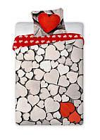 Комплект постельного белья Хлопковый NR 003 Faro 7019 Красный, Бежевый