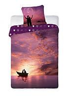 Комплект постельного белья Хлопковый NR 004 Faro 7026 Фиолетовый, Розовый