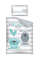 Комплект постельного белья Хлопковый Детский 2819B Detexpol 2898 Белый, Синий, Серый