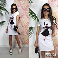 Платье футболка женское стильное с яркими крутыми принтами мини Smv3400