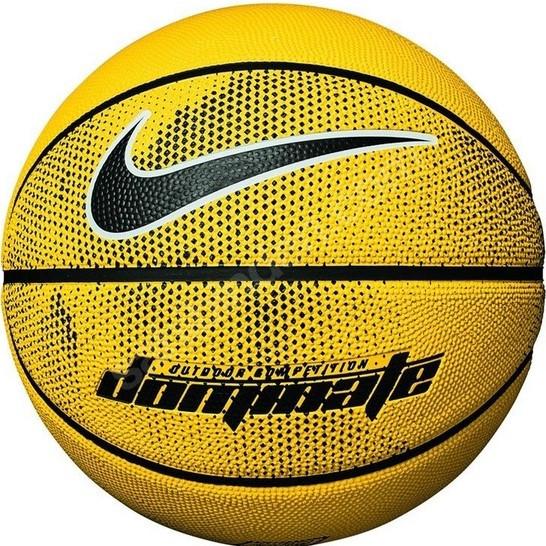 Мяч баскетбольный резиновый для игры на улице и в зале Nike Dominate размер 7, цвет - желтый