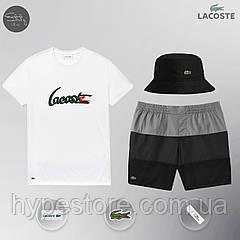 Летний спортивный комплект, мужской пляжный комплект Lacoste, шорты+футболка, панама, ТОП-Реплика (комби)