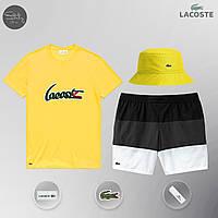 Летний спортивный комплект, мужской пляжный комплект Lacoste, шорты+футболка, панама, ТОП-Реплика (желтый), фото 1