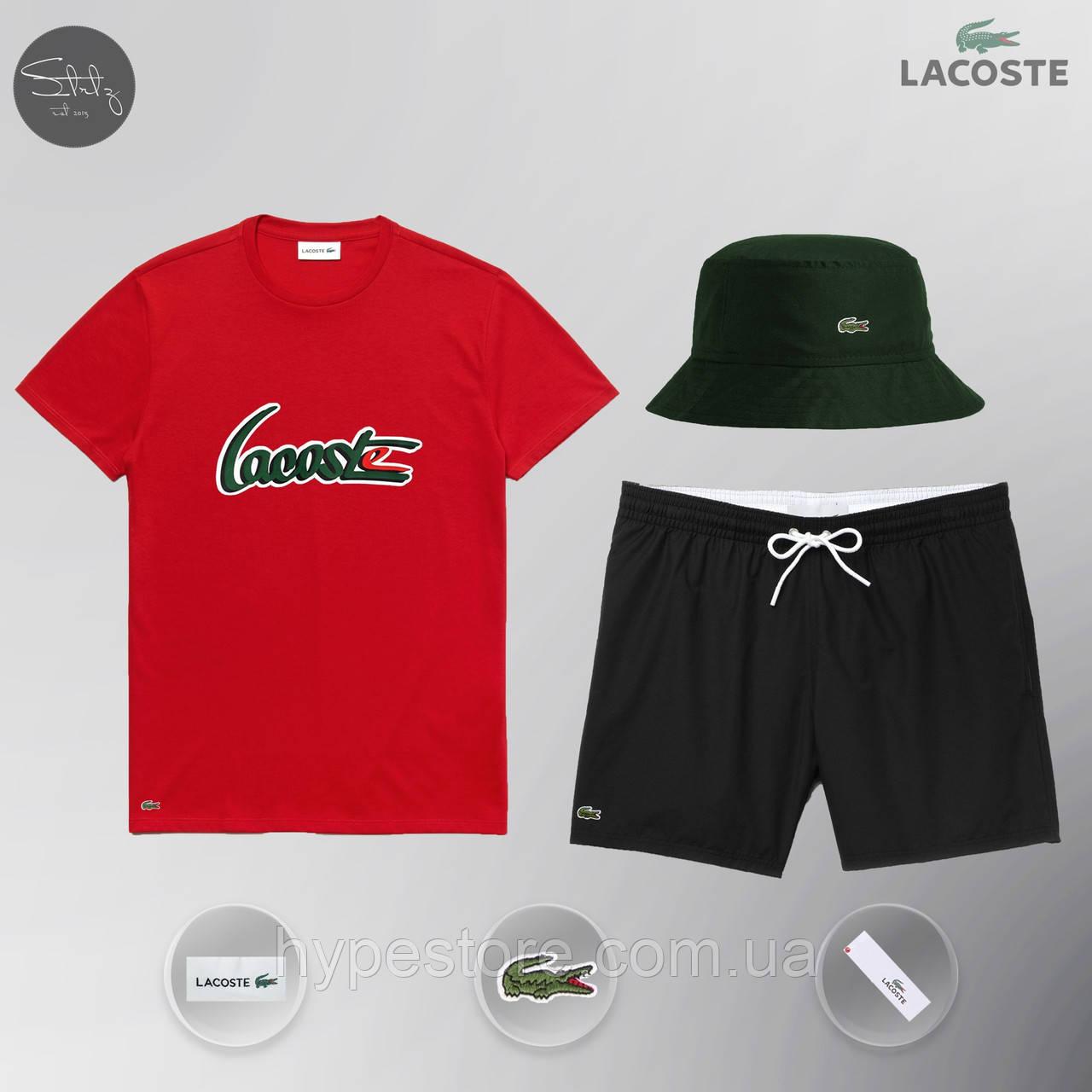 Летний спортивный комплект, мужской пляжный комплект Lacoste, шорты+футболка, панама, ТОП-Реплика (красный)