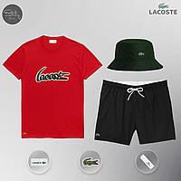 Летний спортивный комплект, мужской пляжный комплект Lacoste, шорты+футболка, панама, ТОП-Реплика (красный), фото 1