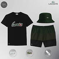 Летний спортивный комплект, мужской пляжный комплект Lacoste, шорты+футболка, панама, Реплика, фото 1
