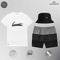 Летний мужской спортивный костюм, мужской пляжный комплект Lacoste, шорты+футболка, панама, ТОП-Реплика, фото 1