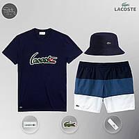 Летний мужской спортивный костюм, мужской пляжный комплект Lacoste, футболка, панама, ТОП-Реплика, фото 1