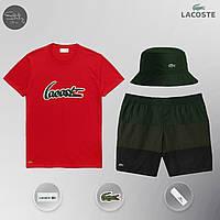 Мужской спортивный костюм, мужской пляжный комплект Lacoste, шорты+футболка, панама, ТОП-Реплика, фото 1