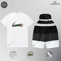 Мужской спортивный костюм, мужской пляжный комплект Lacoste, шорты+футболка, панама, ТОП-Реплика (white), фото 1