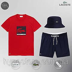 Мужской спортивный костюм, мужской пляжный комплект Lacoste Original, шорты+футболка, панама, ТОП-Реплика