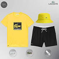 Мужской спортивный костюм, мужской пляжный комплект Lacoste Original, шорты+футболка, панама, Реплика (желтый), фото 1