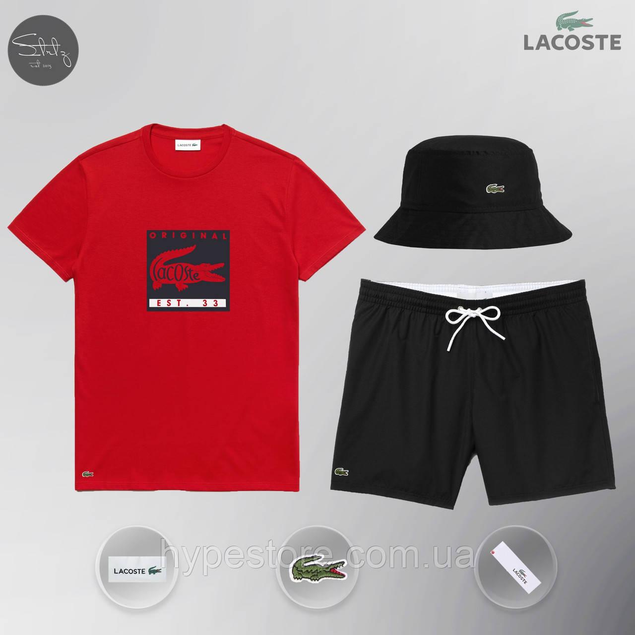 Мужской спортивный костюм, мужской пляжный комплект Lacoste Original, шорты+футболка, Реплика