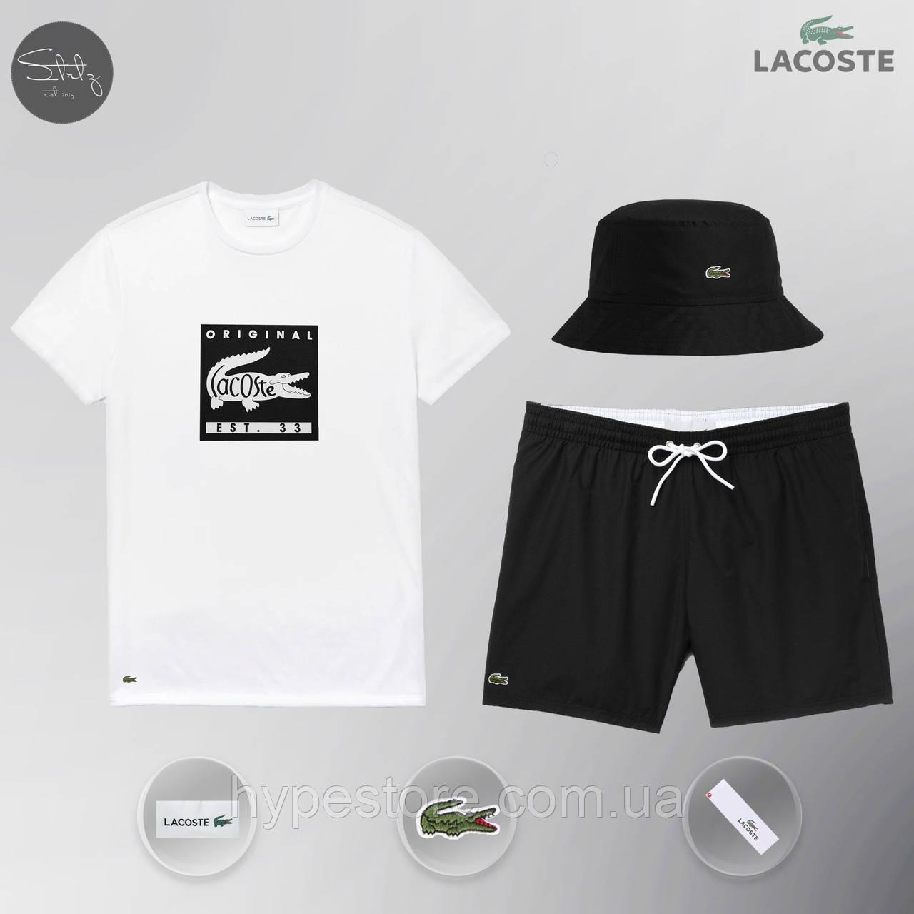 Мужской спортивный костюм, мужской пляжный комплект Lacoste Original, шорты+футболка, ТОП-Реплика
