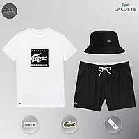 Мужской спортивный костюм, мужской пляжный комплект Lacoste Original, шорты+футболка, ТОП-Реплика , фото 1