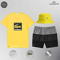 Мужской спортивный костюм, мужской пляжный комплект Lacoste Original, шорты+футболка, панама, Реплика , фото 1