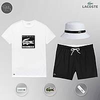 Мужской спортивный костюм, мужской пляжный комплект Lacoste Original, шорты+футболка, панама, Реплика (белый), фото 1