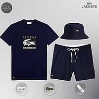Мужской спортивный костюм, мужской пляжный комплект Lacoste Original, шорты+футболка, панама, Реплика (синий), фото 1