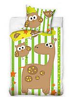 Комплект постельного белья Детский Хлопковый NR 268 Carbotex 8320 Коричневый, Зеленый, Желтый