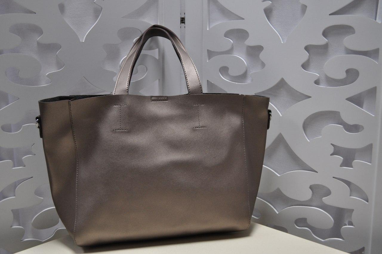 Женская сумка бронзового цвета, из искусственной кожи