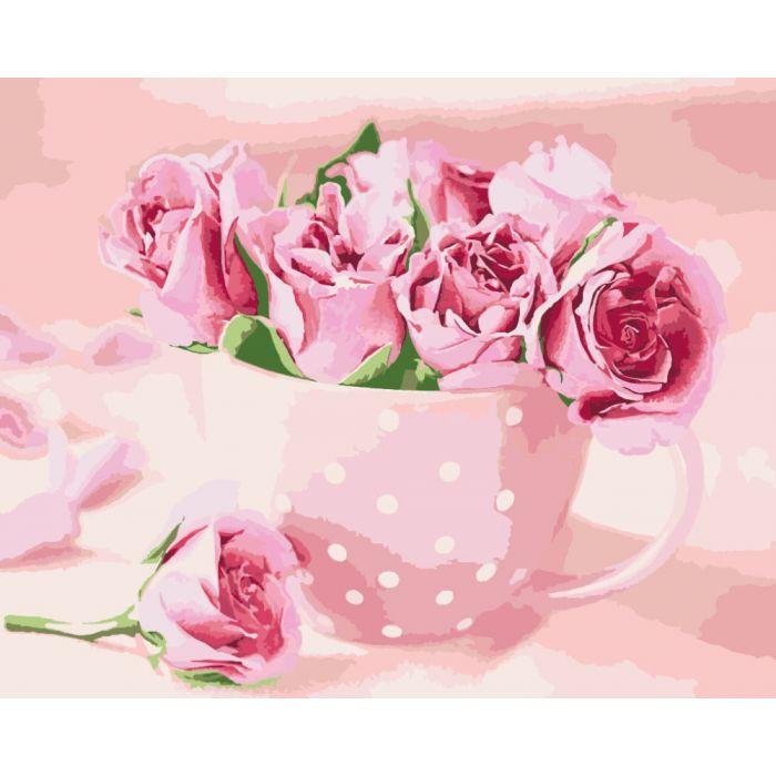 Роспись по номерам, букет, Чайные розы KHO2923