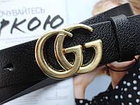 Женские кожаные ремни GUCCI  ширина 3 см золото