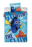 Комплект постельного белья Детский NR 968 Faro 3182 Синий, Оранжевый