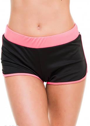 Спортивні шорти жіночі Issa Plus 9492 чорний з рожевим, фото 2