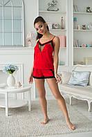 Элегантная женская шелковая ночная пижама со вставками из кружева и сетки. Арт-2556/64, фото 1