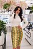 Стильная женская облегающая юбка миди из эко-кожи с притом. Арт-2557/64